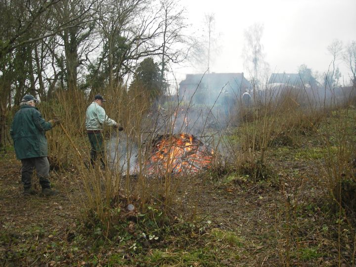 Burning off, after coppice. Photo: Medway Valley
